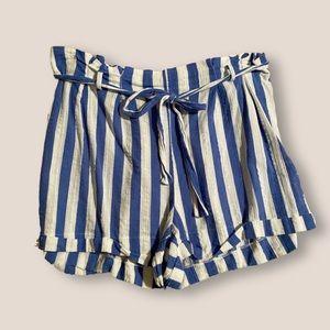 striped paper bag waist flowy shorts